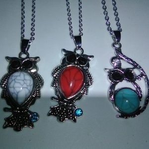 Jewelry - Lot of 3 Owl Necklaces Pendants & Chains